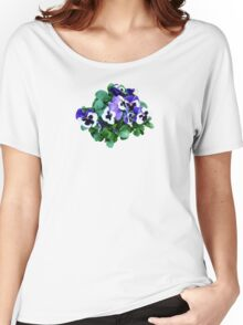Bunch of Purple and White Pansies Women's Relaxed Fit T-Shirt