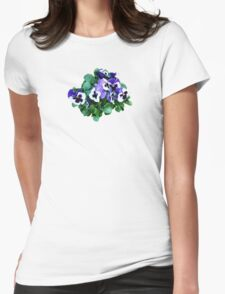Bunch of Purple and White Pansies Womens Fitted T-Shirt