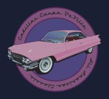 Pink Cadillac - Classic American Retro Car  One Piece - Short Sleeve