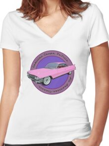 Pink Cadillac - Classic American Retro Car  Women's Fitted V-Neck T-Shirt