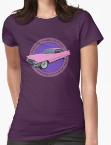 Pink Cadillac - Classic American Retro Car  Womens Fitted T-Shirt