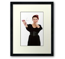 Modern girl with scissors Framed Print