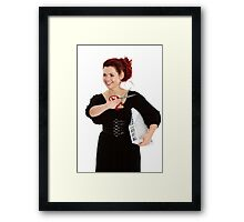 Modern girl with scissors and folder of documents Framed Print