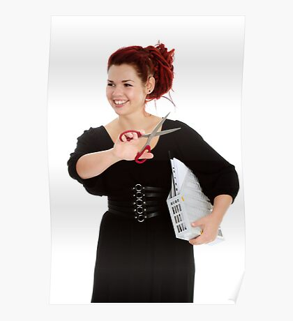 Modern girl with scissors and folder of documents Poster