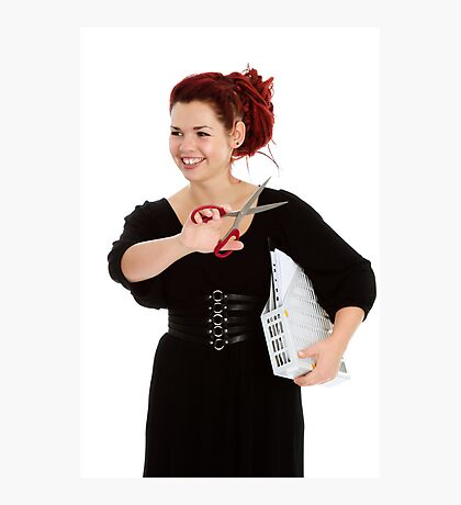 Modern girl with scissors and folder of documents Photographic Print