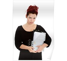 Young woman with folder of documents Poster