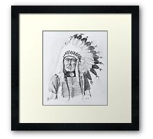American Indian with Eagle Feather Headress Framed Print