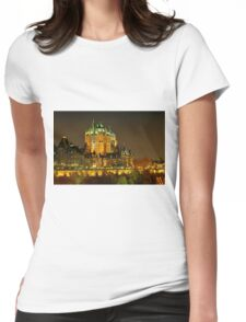 Night view of Le Chateau Frontenac, Quebec City Womens Fitted T-Shirt