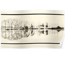 Misty morning in the park Poster