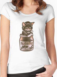 Kitten <3 Nutella Women's Fitted Scoop T-Shirt