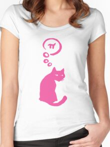 Cat thinking about Pi Women's Fitted Scoop T-Shirt