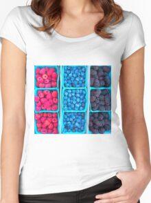 Farm Fresh Berries - Raspberries Blueberries Blackberies Women's Fitted Scoop T-Shirt