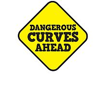 BEWARE yellow road dangerous curves ahead warning sign (roughly rounded type) Photographic Print
