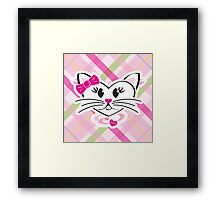 HeartKitty Plaid Love Cat Framed Print