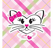HeartKitty Plaid Love Cat Photographic Print