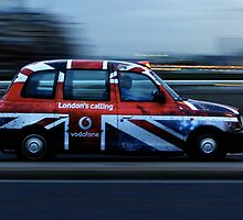 London Cab with Union Jack on London Bridge  by chaucheong