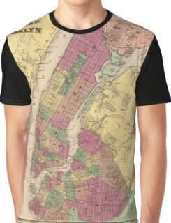Vintage Map of NYC and Brooklyn (1868) Graphic T-Shirt