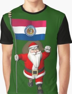 Santa Claus With Flag Of Missouri Graphic T-Shirt