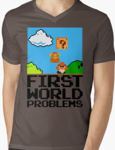 First World Problems (Black) Mens V-Neck T-Shirt