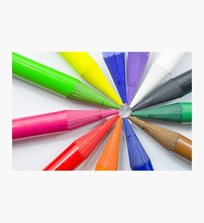 Woodless Colored Pencil Heads Macro Closeup Photographic Print
