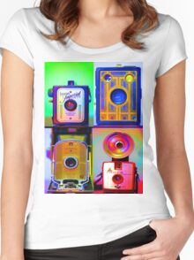 Camera Collage Women's Fitted Scoop T-Shirt
