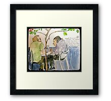 Two Men in Conversation Not Looking at Each Other Framed Print