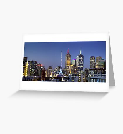 Melbourne City Lights Greeting Card