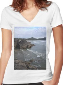 beach in vancouver Women's Fitted V-Neck T-Shirt