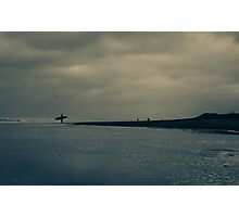 Surfer on Winter Beach Photographic Print