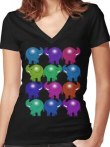 ELEPHANTS 3 Women's Fitted V-Neck T-Shirt