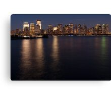 Lower Manhattan at night. Canvas Print