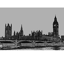 Westminster bridge And big Ben Charcoal Effect Photographic Print