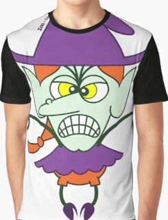 Scary Halloween Witch Emoticon Graphic T-Shirt