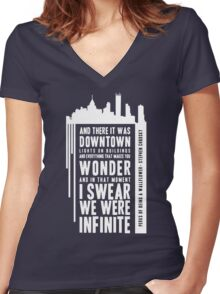 Infinite - White Women's Fitted V-Neck T-Shirt