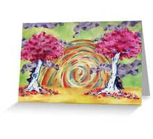 Twin Tree Sunset Greeting Card