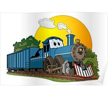 Blue Steam Locomotive Cartoon Poster