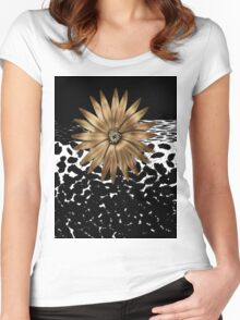 Animal Print Black and White and  Gold Women's Fitted Scoop T-Shirt