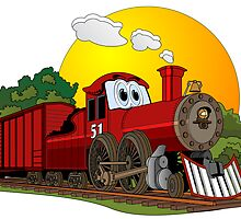 Red Cartoon Steam Engine by Graphxpro