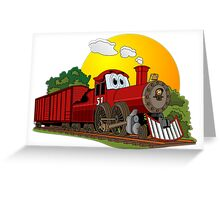 Red Cartoon Steam Engine Greeting Card