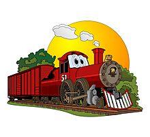 Red Cartoon Steam Engine Photographic Print