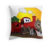 Red Cartoon Steam Engine Throw Pillow