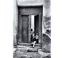 Three African kids Stonetown Zanzibar Photographic Print