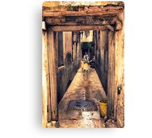 3 Kids Stone in Town Alley Canvas Print