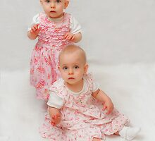 Twins - 1 year old Lacey & Lilly by Bob Shupe