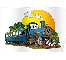 Blue Cartoon Passenger Steam Engine Poster