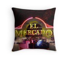 El Mercado - Night Signs Series - S. Austin, Texas Throw Pillow