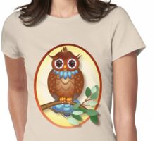 Big Brown Owl  Oval Womens Fitted T-Shirt