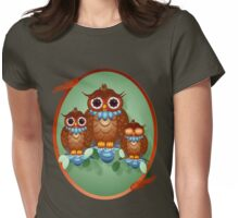 Three Alert Little Owls Oval Womens Fitted T-Shirt