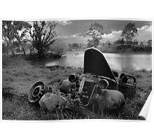 Landscape of Old Car, North East Victoria Poster