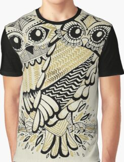 Owls – Black & Gold on Cream Graphic T-Shirt